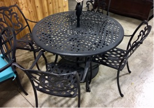 "Protege Dining Table 48"" Round Cast Aluminum with 4 Chairs - Premium Wholesale"